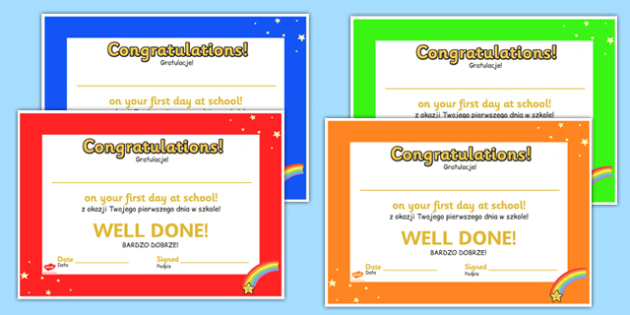 First Day at School Award Certificates Polish Translation - polish, first day at school, certificate, award, first day, school