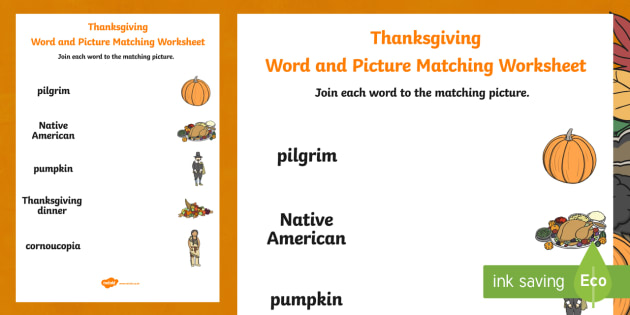 Thanksgiving Word and Picture Matching Activity Sheet - thanksgiving, word and picture, word, picture, matching, match, activity