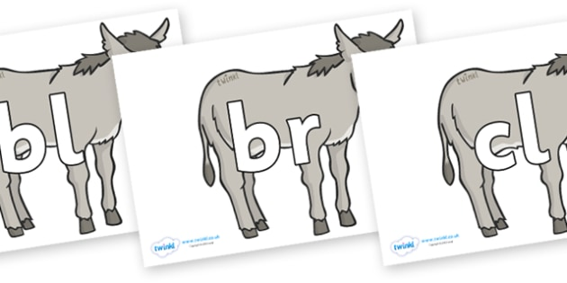Initial Letter Blends on Donkeys - Initial Letters, initial letter, letter blend, letter blends, consonant, consonants, digraph, trigraph, literacy, alphabet, letters, foundation stage literacy