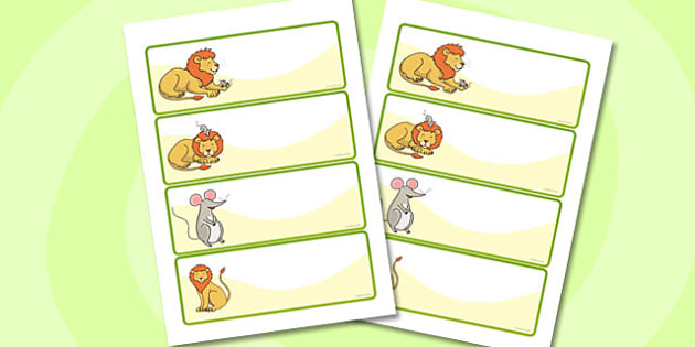 The Lion And The Mouse Editable Drawer Peg Name Labels - lion