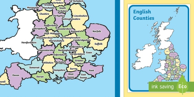 English Map With Counties Display Poster - english map, english, map, counties, display poster, display, poster