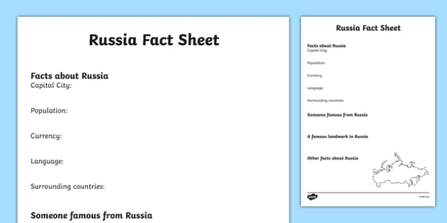 Russia Factsheet Writing Template - Russia, Russia Fact Sheet