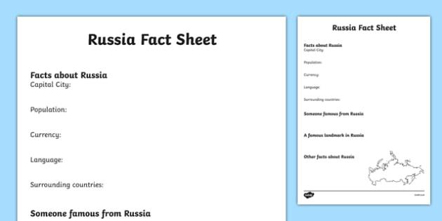 Russia Factsheet Writing Template  Russia Russia Fact Sheet