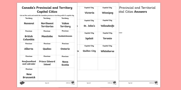 Canada's Provincial and Territorial Capital Cities Matching Cards - Uniquely Canadian, Canadian Provinces, Canadian Territories, Canadian Capital Cities, Geography, Soc