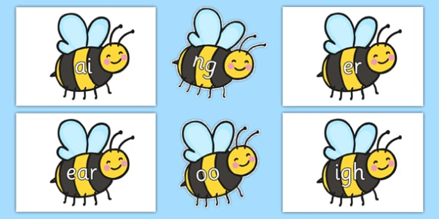 Phase 3 Phonemes on Bees - Phonemes, phoneme, Phase 3, Phase three, Foundation, Literacy, Letters and Sounds, DfES, display