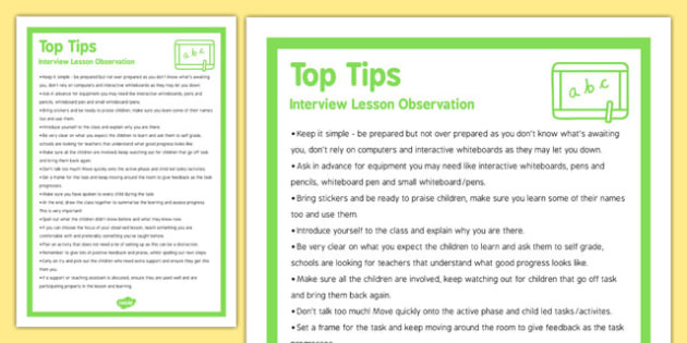 Interview Lesson Observation Top Tips - interview, top tips