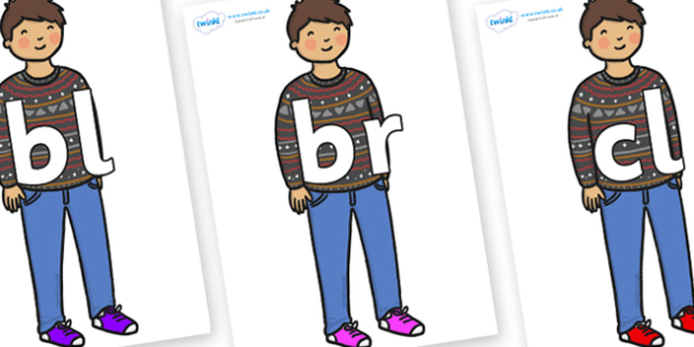Initial Letter Blends on Little Boy - Initial Letters, initial letter, letter blend, letter blends, consonant, consonants, digraph, trigraph, literacy, alphabet, letters, foundation stage literacy