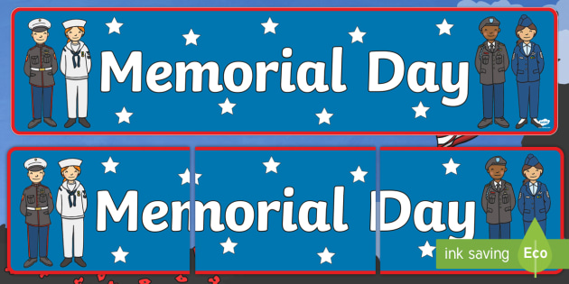 Memorial Day Display Banner - Memorial Day, army, armed forces, celebration