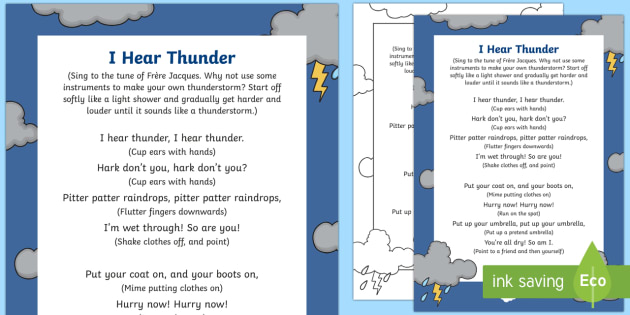 I Hear Thunder Song - rainy day, song, rhyme, pitter patter, weather