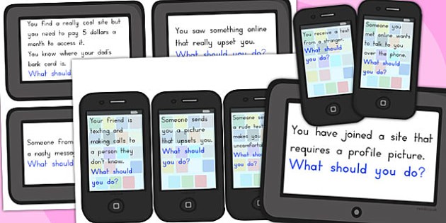 Internet and Phone Safety Discussion Prompt Cards - Safety