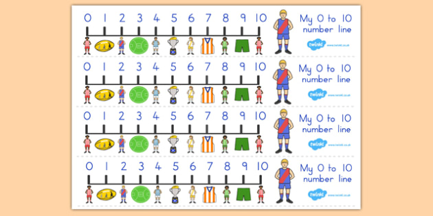 AFL Australian Football League Football Number Line 0-10 - number
