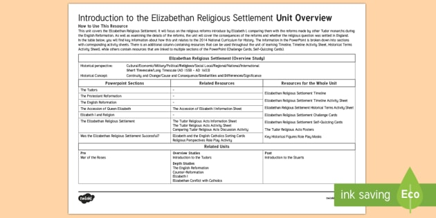 Elizabethan Religious Settlement Planning Overview
