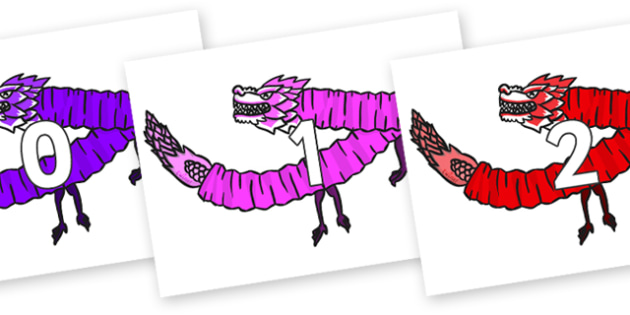 Numbers 0-31 on Chinese Paper Dragons - 0-31, foundation stage numeracy, Number recognition, Number flashcards, counting, number frieze, Display numbers, number posters