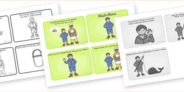 Simple Simon Sequencing (4 per A4) - Simple Simon, sequencing, nursery rhyme, rhyme, rhyming, nursery rhyme story, nursery rhymes, Simple Simon resources
