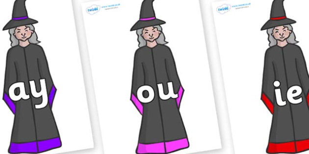 Phase 5 Phonemes on Witches - Phonemes, phoneme, Phase 5, Phase five, Foundation, Literacy, Letters and Sounds, DfES, display