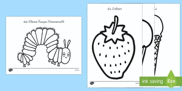 Animalbilder für das Unterrichtsthema: die Kleine Raupe Nimmersatt  - Kleine Raupe Nimmersatt, Anmalbilder,German