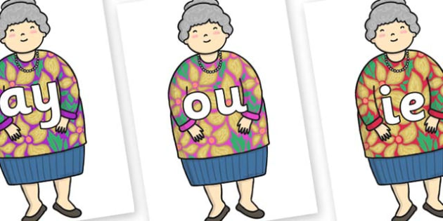 Phase 5 Phonemes on Little Old Lady - Phonemes, phoneme, Phase 5, Phase five, Foundation, Literacy, Letters and Sounds, DfES, display