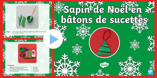Sapin de Noël en bâtons de sucettes   Travaux manuels de Noël PowerPoint - Noël, Christmas, sapin, bâtons, sucettes, lolly stcik, tree, travaux manuels, craft, arts plastiqu