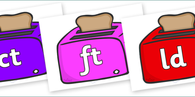 Final Letter Blends on Toasters - Final Letters, final letter, letter blend, letter blends, consonant, consonants, digraph, trigraph, literacy, alphabet, letters, foundation stage literacy