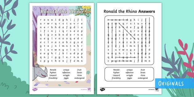 Ronald the Rhino Word Search - Find, Key words, story, Characters, Locate, twinkl fiction, javan rhino, world rhino day, rhino day,