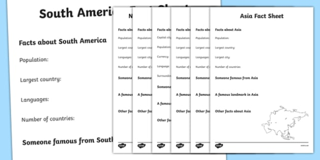 Continents Factsheet Writing Templates - continents, continents factsheets, continents worksheets, facts about continents, ks2 geography, places, continent