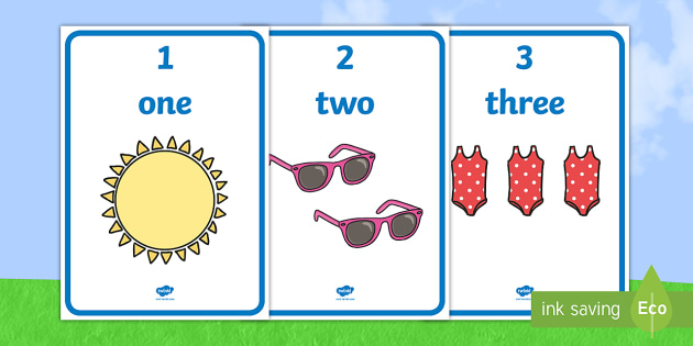 Summer Themed 1 to 20 Word and Number Display Posters - Summer Themed Number Posters with Words & Numbers (1-20) -  summer, numeracy, counting, number poste