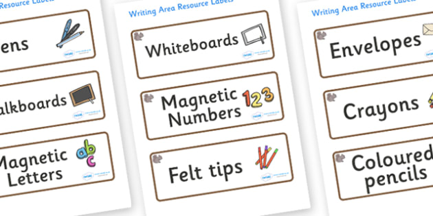 Squirrel Themed Editable Writing Area Resource Labels - Themed writing resource labels, literacy area labels, writing area resources, Label template, Resource Label, Name Labels, Editable Labels, Drawer Labels, KS1 Labels, Foundation Labels, Foundati