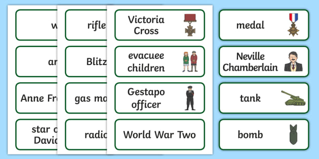 World War Two Word Cards - World War Two, WW2, history, war, world war, word card, flashcards, cards, Nazi Germany, battle, soldiers, 1939, 1945, Pearl Harbour, Hitler