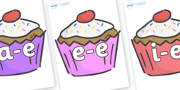 Modifying E Letters on Cupcakes - Modifying E, letters, modify, Phase 5, Phase five, alternative spellings for phonemes, DfES letters and Sounds