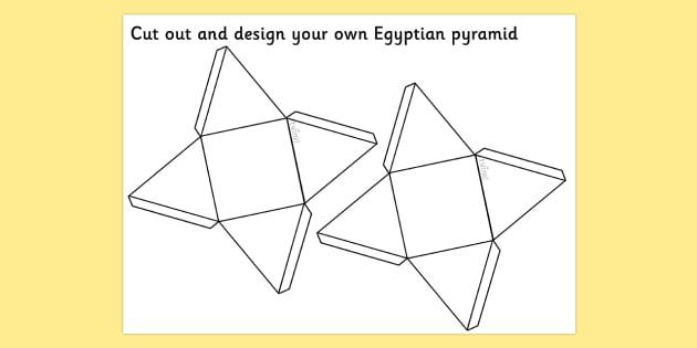 Egyptians Pyramid Net - pyramid net, triangle net, egyptian pyramid, miniature pyramid, paper pyramid net, design a pyramid, ancient egypt, ks2 history