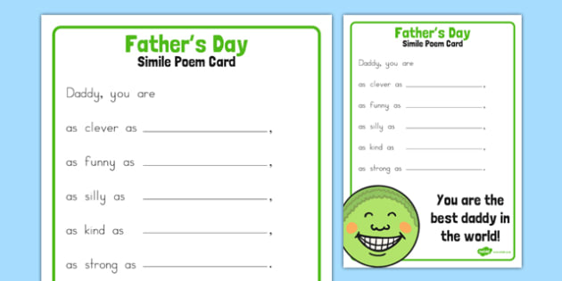 Father's Day Simile Poem Card - australia, fathers day, simile, poem, card