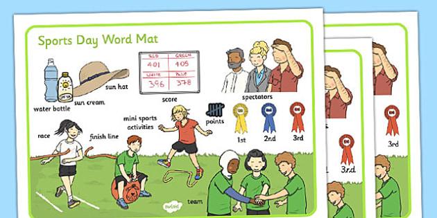 Sports Day Word Mat - sports day, word mat, word, mat, sports