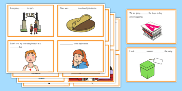 To, Too and Two Homophones Fill in the Gaps Cards - homophones, to, too, two