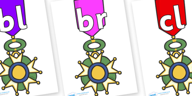 Initial Letter Blends on War Medals - Initial Letters, initial letter, letter blend, letter blends, consonant, consonants, digraph, trigraph, literacy, alphabet, letters, foundation stage literacy