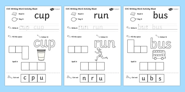 CVC Writing Word Activity Sheet Pack U - word writing practise sheets, word writing worksheets, CVC word practise worksheets, practise writing words, writing