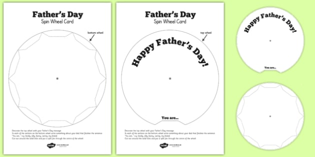 Father's Day Spin Wheel Card - father, Father's day, dad, gifts