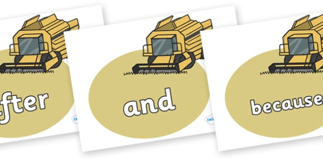 Connectives on Combine Harvesters - Connectives, VCOP, connective resources, connectives display words, connective displays