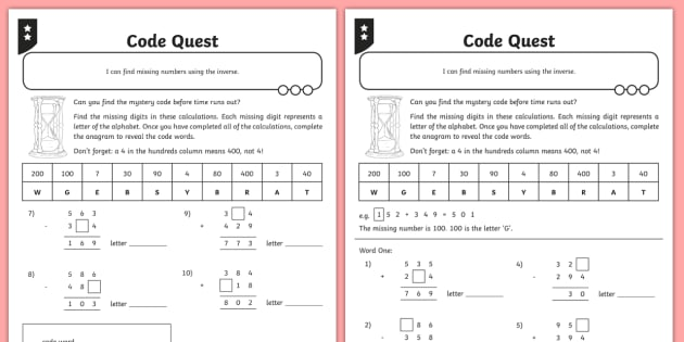 Addition and Subtraction Three-Digit Missing Numbers Activity Sheet - Addition and Subtraction, Opposite, inverse, reverses, calculation, operation, take, take-away, less