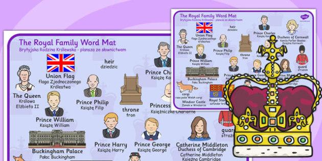 Royal Family Word Mat Polish Translation - polish, royal family, britain, word mat