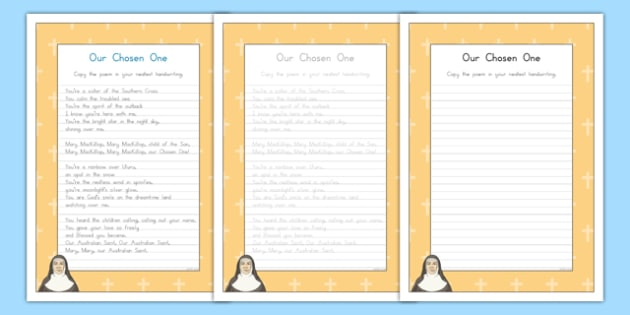 Saint Mary MacKillop Our Chosen One Handwriting Practice Activity Sheet-Australia, worksheet