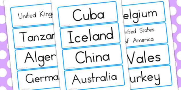 Countries Word Cards - Country, Geography, Map, Word, Cards