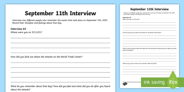 September 11th Interview Activity Sheet - Patriot Day, September 11th, World Trade Center, interview, writing, September 11th Interview