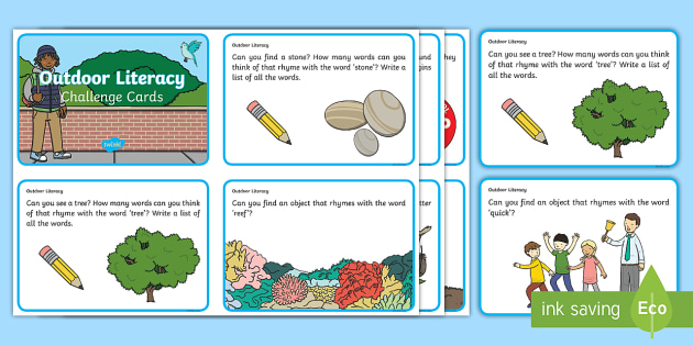 EYFS Outdoor Literacy Challenge Cards - Literacy, Communication and Language, challenge, outside, outdoor learning, outdoor environment.