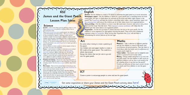 James and the Giant Peach Lesson Plan Ideas KS2 - lessons, KS2