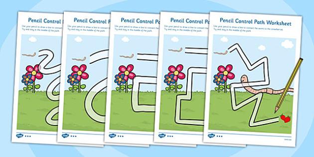 Worm Pencil Control Path Worksheets - worm, pencil, superworm