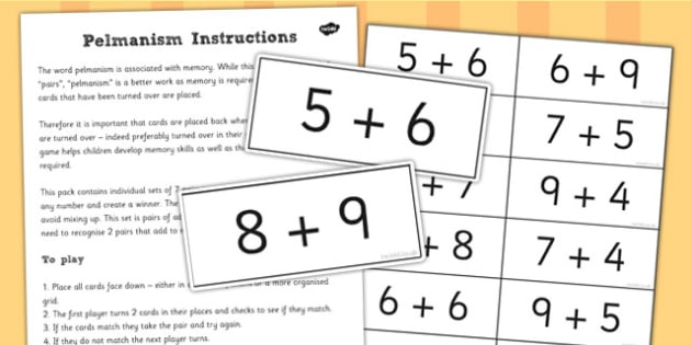 Pelmanism Addition Facts Game 11 to 19 - maths, memory, game