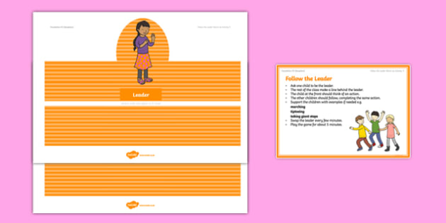 Foundation PE (Reception) Follow the Leader Warm-Up Activity Card - physical activity, foundation stage, physical development, games, dance, gymnastics
