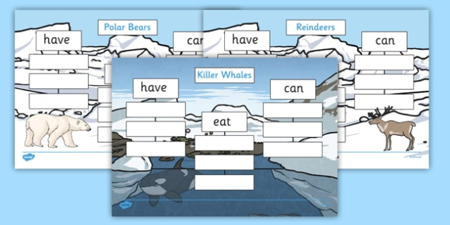 Polar Animals: Have, Eat, Can Writing Frames - arctic, animals, have, eat, can, writing, frames
