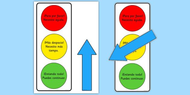 Semáforo Póster de ayuda - classroom, self-assessment, help, teacher, support, self, assess, spanish, esanol