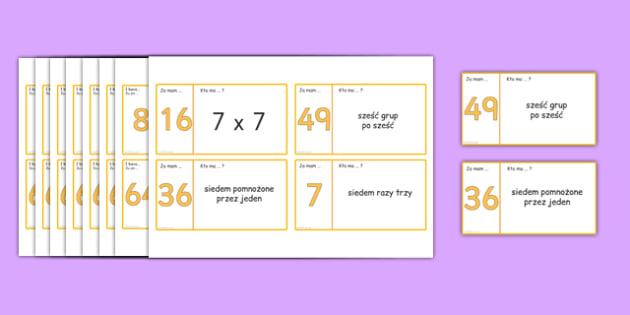 Karty do gry Mnożenie przez 6, 7, 8 i 9 po polsku - liczenie